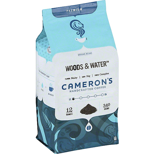 Camerons Coffee, Handcrafted, Ground Beans, Woods & Water
