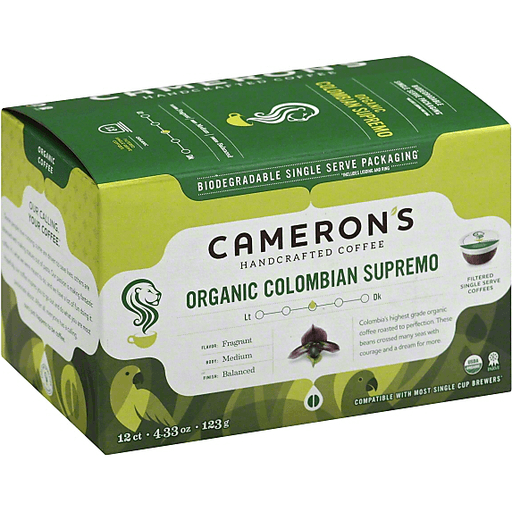 Camerons Coffee, Medium, Organic Colombian Supremo, Filtered Single Serve