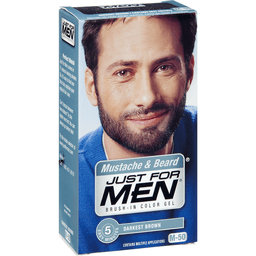 Just For Men Mustache Beard Darkest Brown M-50 Brush-In Color Gel ...