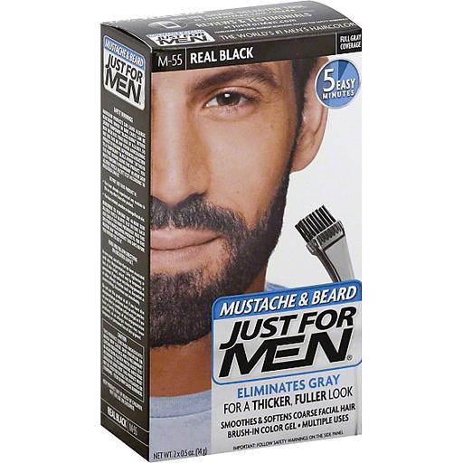 Just For Men Mustache & Beard Brush-In Color Gel M-55 Real Black
