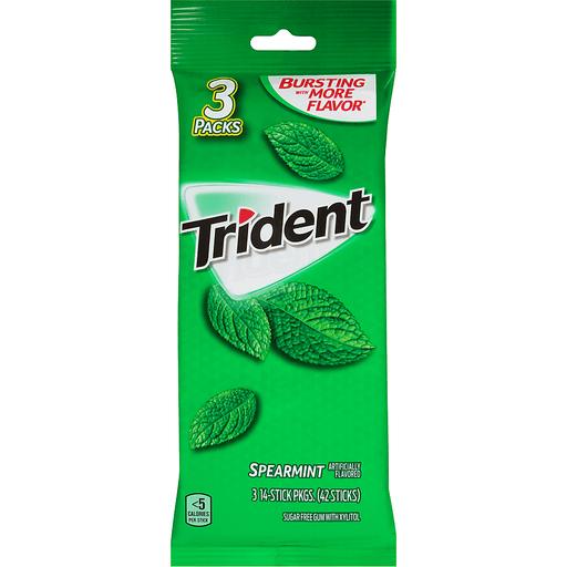 Trident Gum, Sugarfree, Spearmint, 3 Packs