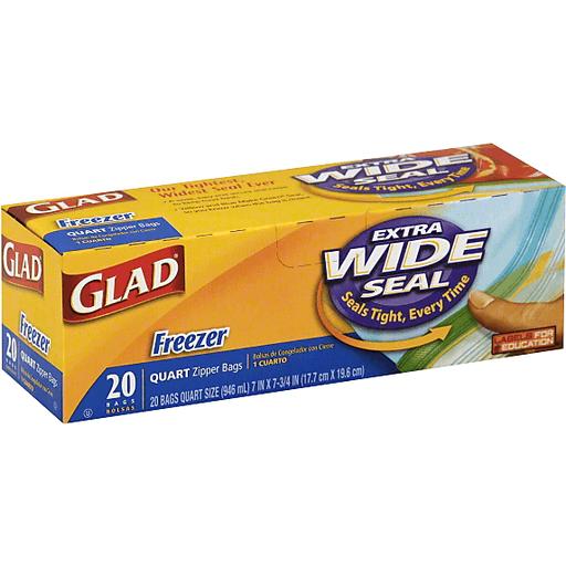 Glad Quart Zipper Bag Extra Wide Seal Freezer - 20 CT