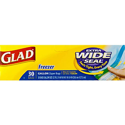Glad Food Storage Bags, Freezer Zipper, Gallon, 30 Count