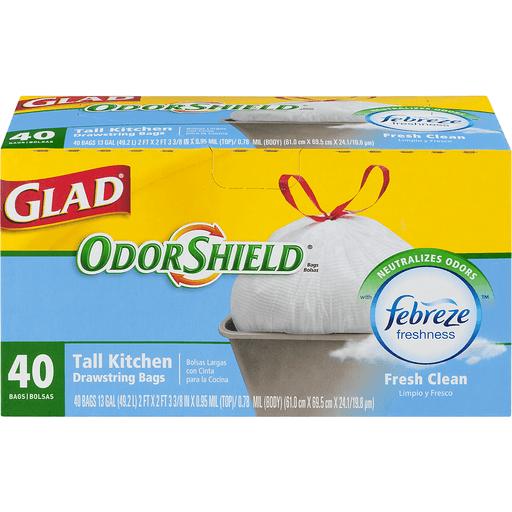 Glad OdorShield Tall Kitchen Bags, Fresh Clean, 13 Gallon