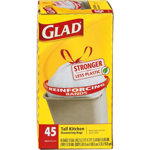 Glad Tall Kitchen Bags, Drawstring, 13 Gal