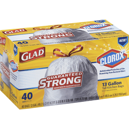 43a07bf7f Glad Trash Bags, Tall Kitchen Drawstring With Clorox