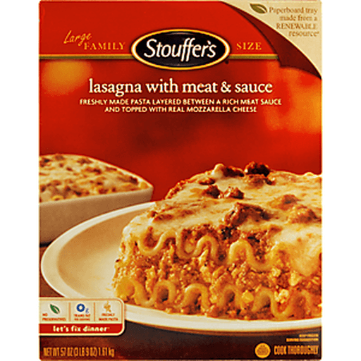Stouffers Lasagna, with Meat & Sauce, Large Family Size