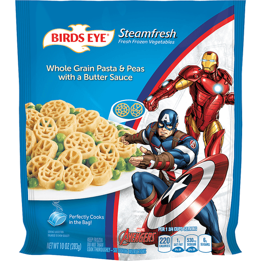 Birds Eye Streamfresh Whole Grain Pasta & Peas with a Butter Sauce, Marvel Avengers