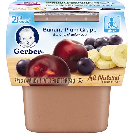 Gerber Banana Plum Grape 2nd Foods - 2 PK
