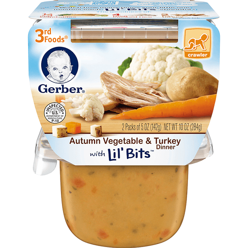 Gerber Autumn Vegetable Turkey, with Lil' Bits Dinner, 8+ Months