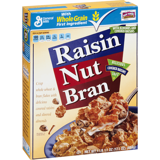 Raisin Nut Bran Cereal, with Almonds and Covered Raisins