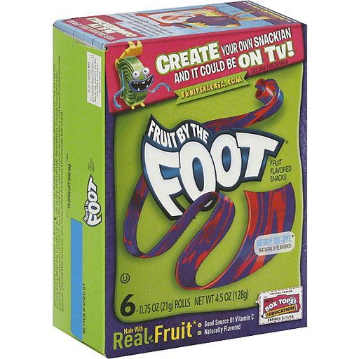 Betty Crocker Fruit Snacks, Fruit by the Foot, Berry Tie-Dye, 6 Rolls, 0.75 oz Each