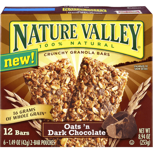 Nature Valley Granola Bars, Crunchy, Oats and Dark Chocolate, 6 Pouches - 1.5 oz, 2-Bars Per Pouch (Total 12 Bars)
