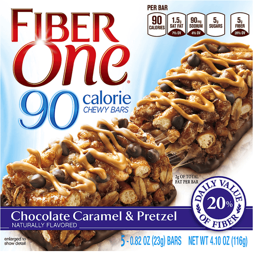 Fiber One 90 Calorie Chewy Bars, Chocolate Caramel & Pretzel