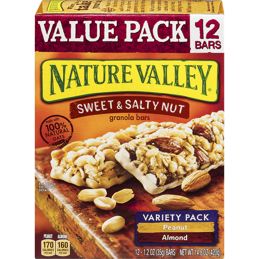 Nature Valley Granola Bars, Sweet and Salty Nut, Variety Pack of Peanut and Almonds, 12 Bars - 1.2oz