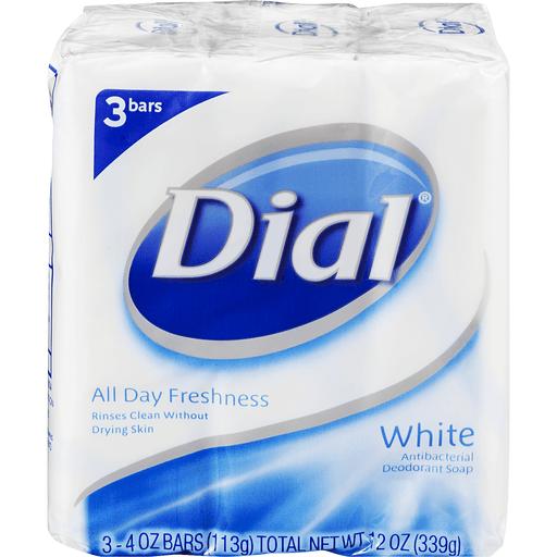 Dial Deodorant Soap, Antibacterial, White