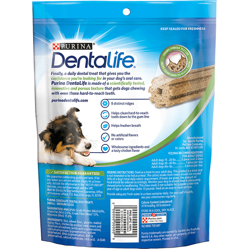 Purina Dentalife Daily Oral Care Dog Treats Small/Medium - 10 CT