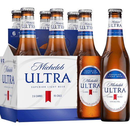 Michelob Ultra Light Beer 6 Pack Beer 12 Fl Oz Bottles 4 2 Abv Lagers Needler S Fresh Market