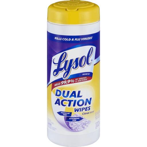 Lysol Dual Action Wipes Citrus Scent - 35 CT