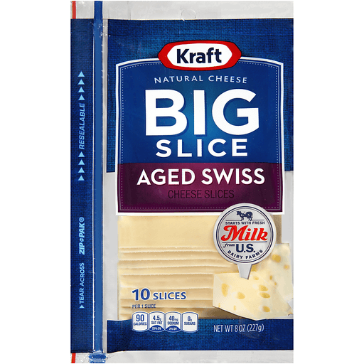 Kraft Natural Cheese Big Slice Aged Swiss - 10 CT