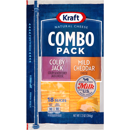 Kraft Colby Jack/Mild Cheddar Cheese Slices Combo Pack 18 ct ZIP-PAK®