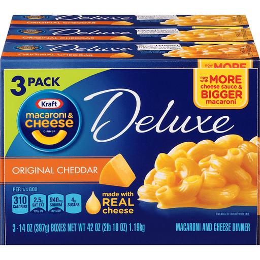 Kraft Macaroni & Cheese Dinner Deluxe Original Cheddar - 3 CT