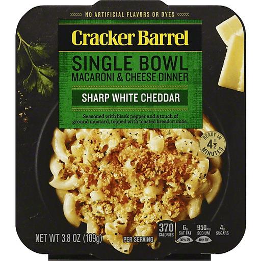 Cracker Barrel Single Bowl Macaroni & Cheese Dinner Sharp White Cheddar