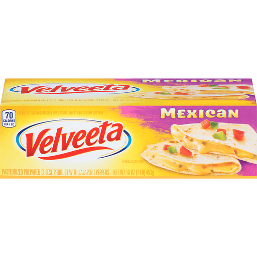 Velveeta Cheese Product, Pasteurized Recipe, with Jalapeno Peppers, Mexican