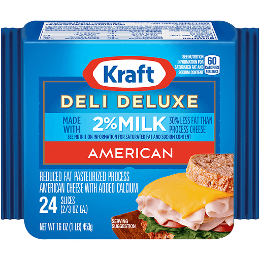 Kraft Deli Deluxe Cheese, Pasteurized Process, Slices, American, Reduced Fat