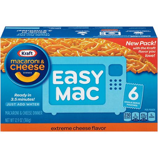 Kraft Easy Mac Macaroni & Cheese Dinner, Extreme Cheese Flavor, Single Serve Pouches