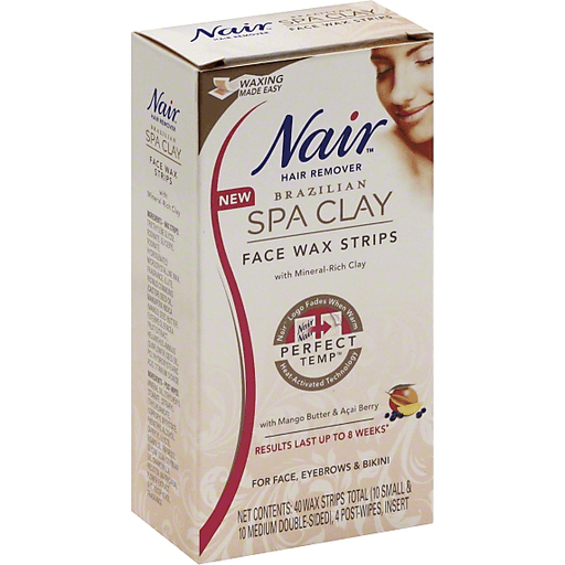 Nair Brazilian Spa Clay Hair Remover Face Wax Strips For Face Eyebrows Bikini Buehler S