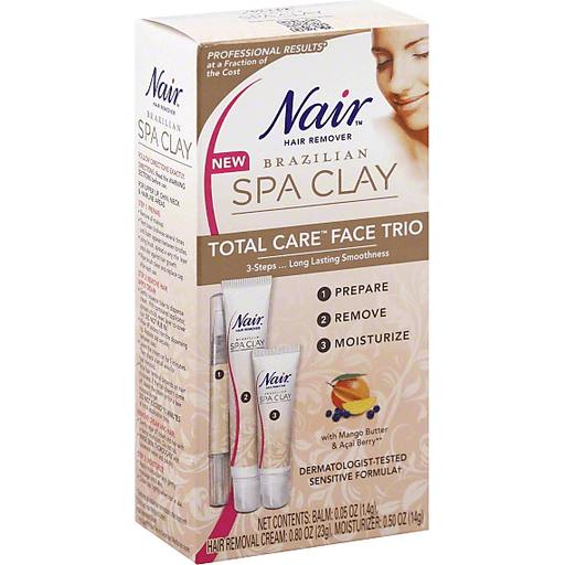 Nair Brazilian Spa Clay Hair Remover Total Care Face Trio Shop