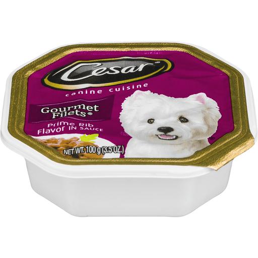 CESAR Canine Cuisine Prime Rib Flavor in Meaty Juices Dog Food Tray 3.5 Ounces