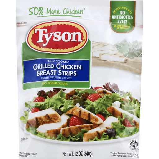 Tyson Grilled Ready Fully Cooked Grilled Chicken Breast Strips 12 Oz Refrigerated