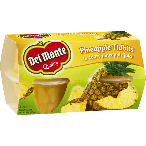 Del Monte Pineapple Tidbits Cups - 4 CT