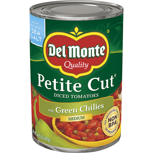 Del Monte Tomatoes, Diced, Petite Cut, with Green Chilies, Medium
