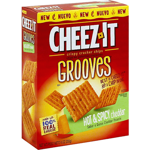 Cheez-It Grooves Crispy Cracker Chips Hot & Spicy Cheddar