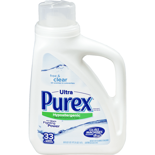 Purex Detergent, HE, Triple Action, Free & Clear