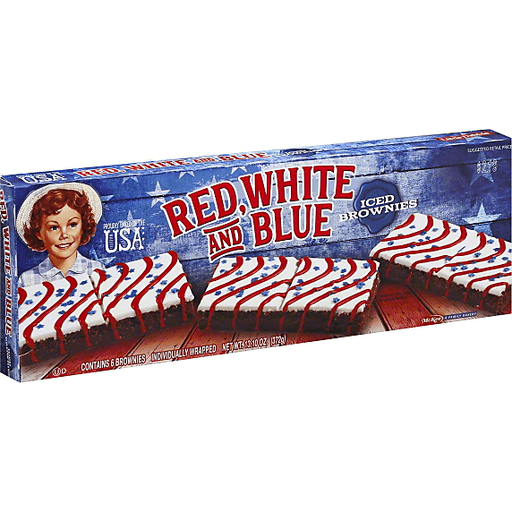 Little Debbie Brownies, Iced, Red White and Blue, Individually Wrapped