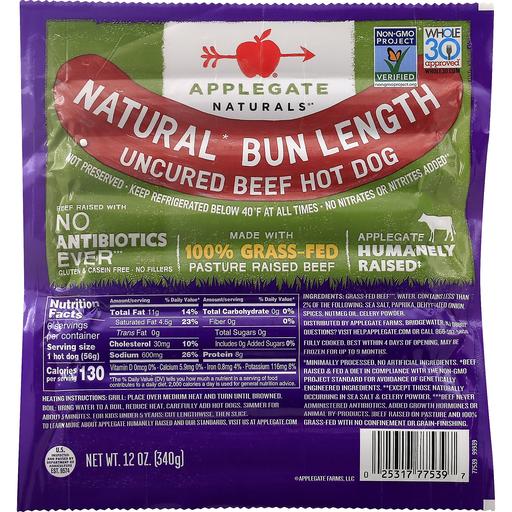 Applegate Farms Bun Length Stadium Beef Hot Dogs