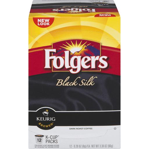 Folgers Keurig Hot Coffee, Dark Roast, Black Silk, K-Cup Pods