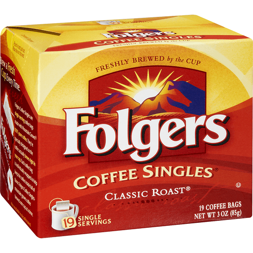 Folgers Coffee Singles, Medium, Classic Roast, Coffee Bags