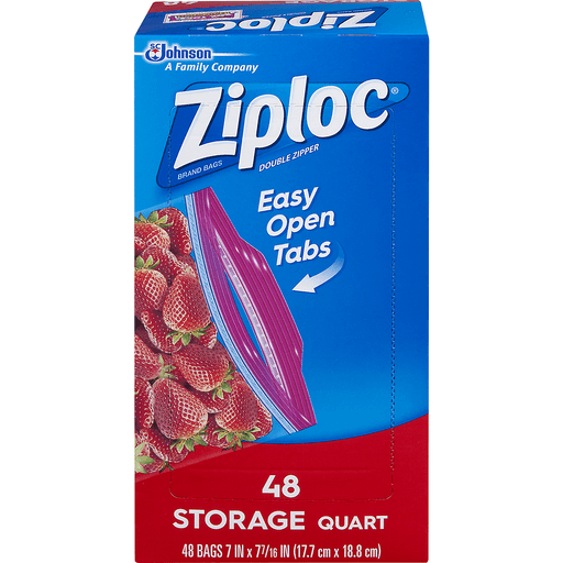 Ziploc Storage Bags, Double Zipper, Quart, Value Pack
