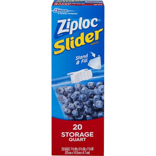 Ziploc Slider Bags, All-Purpose, Storage, Quart
