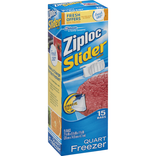 Ziploc Freezer Bags, Slider, Quart