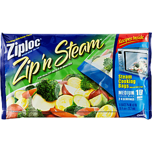 Ziploc Zip'n Steam Steam Cooking Bags, Medium