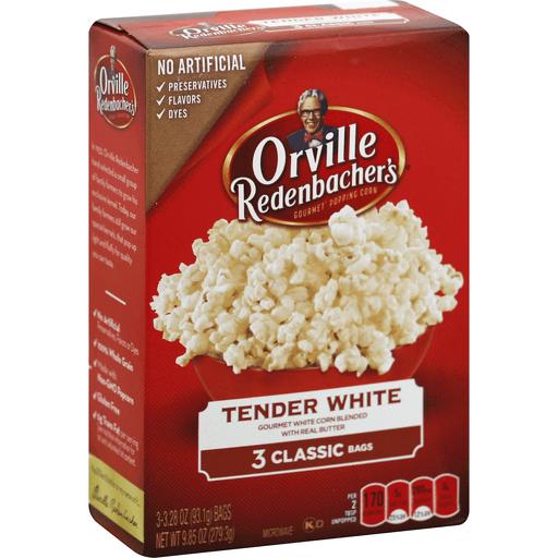 Orville Redenbachers Popping Corn, Gourmet, Tender White, Classic Bags