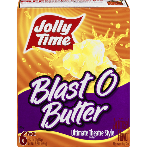 Jolly Time Blast O Butter Pop Corn, Microwave, Ultimate Theatre Style Butter, 6 Pack