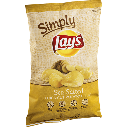 Lays Simply Potato Chips, Thick Cut, Sea Salted
