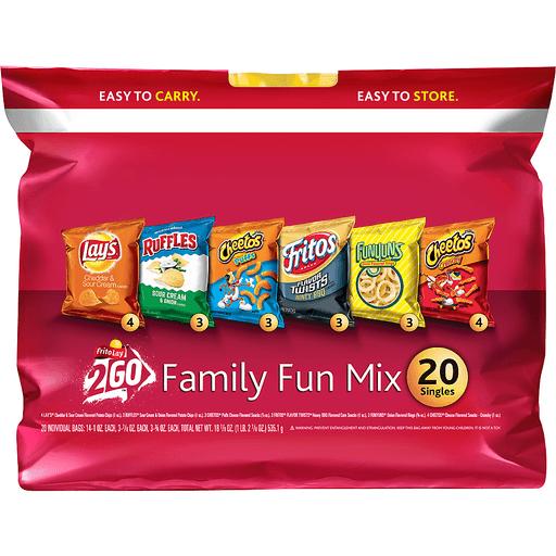 Frito Lay® 2Go™ Family Fun Mix Lays®, Ruffles®, Cheetos®, Fritos®, & Funyuns® Snack Variety Pack 20 ct Bag